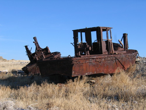 (Dave Shearer  |  Utah State Parks) Remaining boats of the Southern Pacific Railroad fleet on the Great Salt Lake were sunk purposely by Union Pacific in the mid-1980s to prevent them from washing up on the causeway that was built over the Lucin Cutoff trestle on the Great Salt Lake.