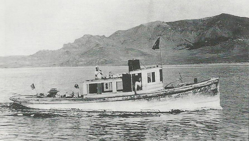 (Courtesy Utah State Parks) This historical photo shows the W.E. Marsh No. 4 boat on the Great Salt Lake during her better days in the early 1900s. Utah State Parks employees, while looking for a lost keel near the Great Salt Lake State Park Marina, came across a wreck this spring. Harbor master Dave Shearer believes it is the wreck of the W.E. Marsh, originally part of the Southern Pacific Railroad fleet kept on the lake to maintain the Lucin Cutoff. He says the wreck will be visible from an observation deck at the marina when the lake is clear.