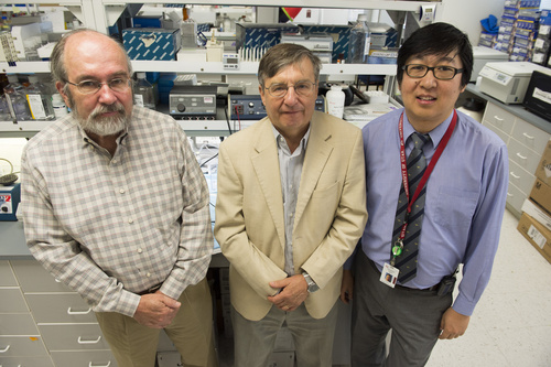 Rick Egan  |  The Salt Lake Tribune  Donald A. McClain, endocrinologist and a professor of internal medicine, Josef Prchal, a professor of internal medicine at the U. School of Medicine, and Tsewang Tashi, a Tibetan who is a hematologist and researcher at the Huntsman Cancer Institute, in Prchal's lab at the University of Utah Medical Center, Friday, August 15, 2014.  University of Utah scientists are the lead researchers on a study publishing Sunday in the journal Nature Genetics. The study concludes that Tibetans who thrive in the thin air of the Tibetan Plateau (average elevation 14,800) do so because of a genetic mutation 8,000 years ago.