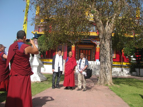 (Courtesy  |  University of Utah) University of Utah researchers Tsewang Tashi, left, and Felipe Lorenzo, right, visit the 33rd Abbot of Bon tradition, His Holiness Lungtok Tenpai Nyima, at a monastery in India in April 2013. They traveled various times to India and China to meet with Tibetans for a study, led by U. researcher Josef Prchal, that found Tibetans have a genetic mutation that allows them to thrive at high altitudes.