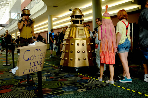 Trent Nelson  |  The Salt Lake Tribune Izzy Neubecker, as a Dalek, walks past the coffee line at Salt Lake Comic Con in Salt Lake City Saturday, September 7, 2013.