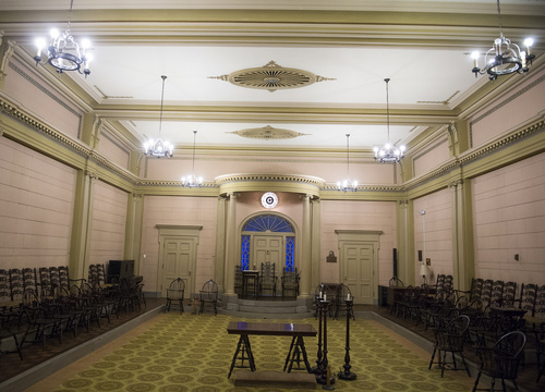 Rick Egan     The Salt Lake Tribune  The Colonial Room in the Salt Lake Masonic Temple may have been designated as one of the public fallout shelters. Wednesday, August 20, 2014