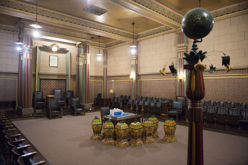 Rick Egan     The Salt Lake Tribune  The Egyptian Room in the Salt Lake Masonic Temple may have been designated as one of the public fallout shelters. Wednesday, August 20, 2014