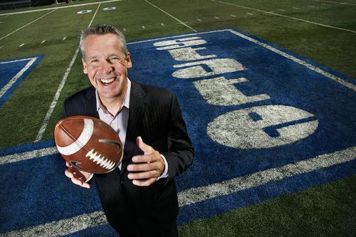 Scott Sommerdorf  |  The Salt Lake Tribune              Utah State athletics director Scott Barnes poses at midfield at Romney Stadium, Monday, October 10, 2011.