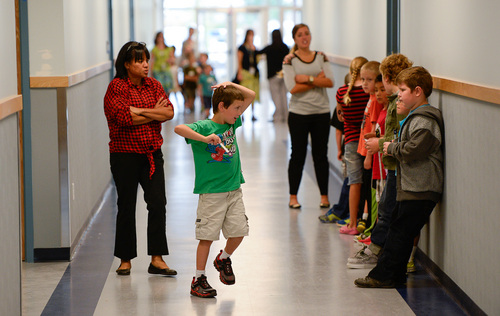 Francisco Kjolseth  |  The Salt Lake Tribune Spectrum Academy's second campus begins their first day of school on Tuesday, Aug. 19, 2014 in Pleasant Grove. The charter school primarily caters to students with autism.