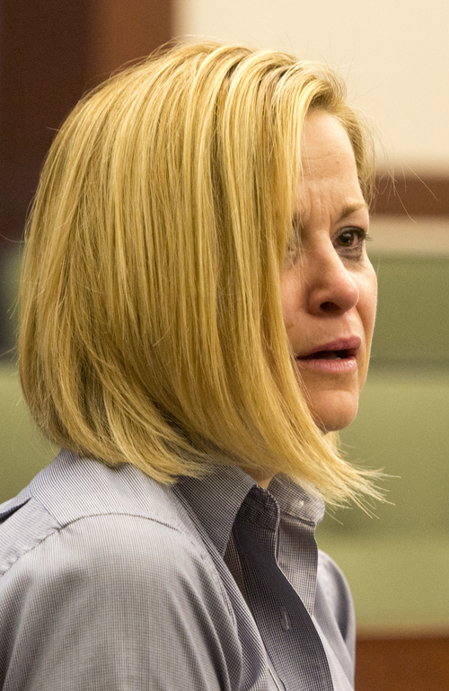 Rick Egan     The Salt Lake Tribune Dea Millerberg reacts as Alexis Rasmussen's mother, Dawn Miera, makes a statement in Second District Court in Ogden, Thursday, August 21, 2014. Millerberg pleaded guilty to helping hide the body of her teen babysitter, Alexis Rasmussen, who overdosed on drugs at her house.