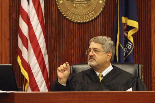 Eighth District Judge Clark McClellan gives the jury its instructions before closing arguments Friday, Aug. 22, 2014, in the murder trial of Jesse Anthony Saenz. The 24-year-old Fort Duchesne man is accused of killing Elvis Anthony Olsen on April 21, 2013.