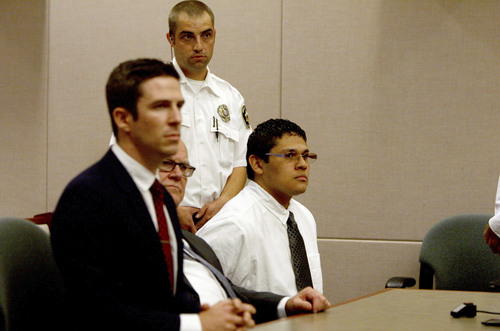 Jesse Anthony Saenz, far right, waits for the verdicts to be announced Friday, Aug. 22, 2014, in the murder trial against him. Saenz, 24, was convicted of killing 22-year-old Elvis Zachary Olsen on April 21, 2013, and stealing his car.