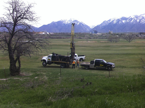 Courtesy Stephen Kaufman Crews on April 16 were taking soil samples from the South Jordan City owned Mulligans Golf Course, where controversy is brewing over possible sale and development of the 67-acre property next to the Jordan River.