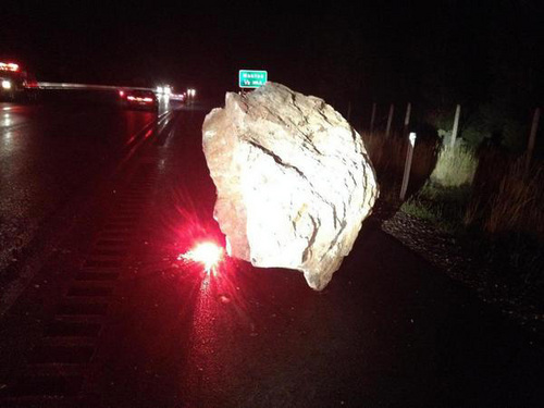 Courtesy Utah Department of Transportation A rock slide shut down Sardine Canyon Friday night after two boulders rolled down the mountainside.