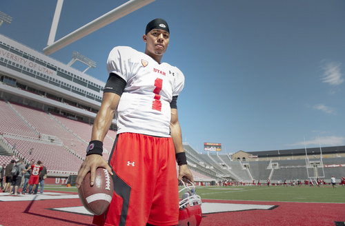 Rick Egan  |  The Salt Lake Tribune  Ute QB, Kendal Thompson, at Rice Eccles Stadium, Wednesday, August 6, 2014