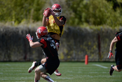 Franciso Kjolseth  |  The Salt Lake Tribune Uaea Masina hauls in a pass as the University of Utah football team gets ready for the season during Spring practice at the Spence Eccles Football Facility on Thursday, April 17, 2014.