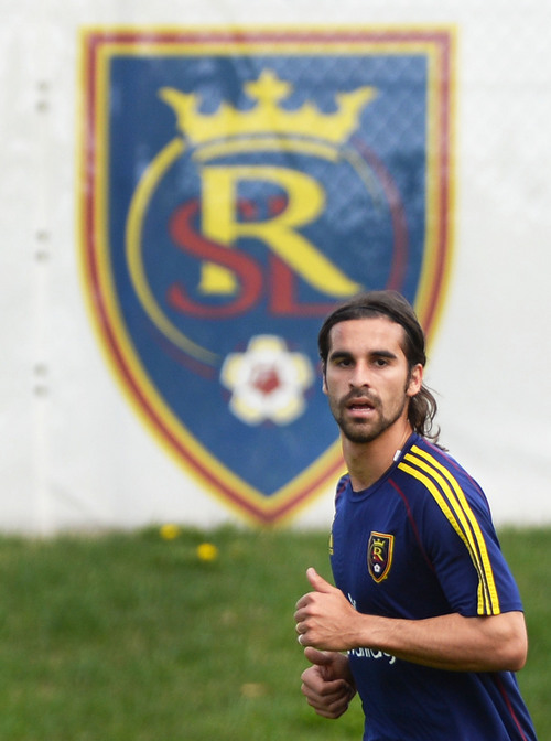 Steve Griffin  |  The Salt Lake Tribune   Real Salt Lake's newest Designated Player, forward Sebastian Jaime, warms up with the club for the first time on Monday morning at America First Field in Salt Lake City, Utah August 25, 2014.