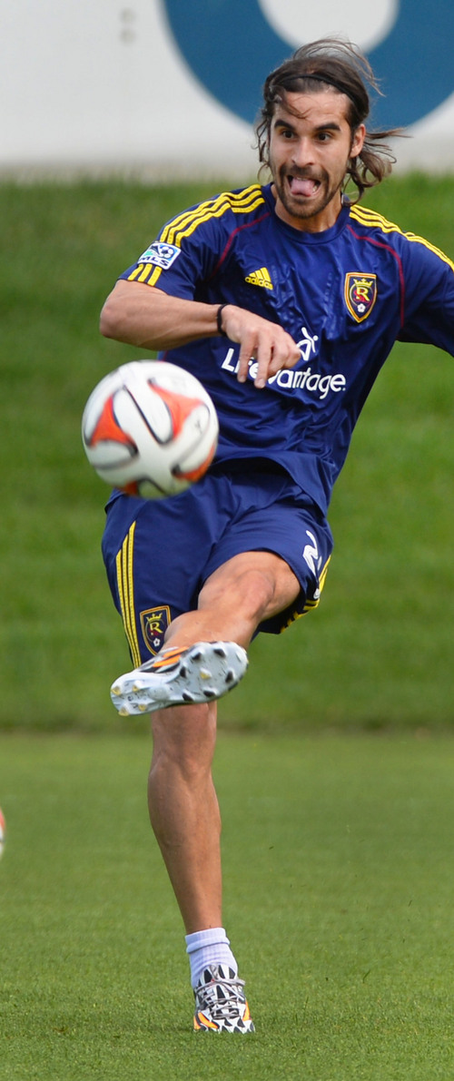 Steve Griffin  |  The Salt Lake Tribune   Real Salt Lake's newest Designated Player, forward Sebastian Jaime, centers the ball during his first practice with the club on Monday morning at America First Field in Salt Lake City, Utah August 25, 2014.