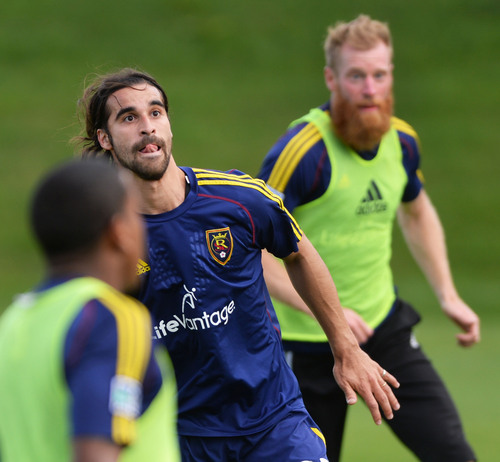 Steve Griffin  |  The Salt Lake Tribune   Real Salt Lake's newest Designated Player, forward Sebastian Jaime, looks for a pass during his first practice with the club on Monday morning at America First Field in Salt Lake City, Utah August 25, 2014.