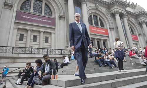 This photo taken June 11, 2014, shows David Koch outside the Metropolitan Museum of Art in New York City. The Kochs are demonized by Democrats, who lack a liberal equal to counter their weight, and not entirely understood by Republicans, who benefit from their seemingly limitless donations. Koch, the executive vice president of Wichita's Koch Industries, is a trustee of the museum.  (AP Photo/The Wichita Eagle, Travis Heying)