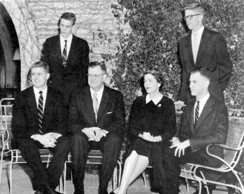 This undated photo provided by the Special Collections and University Archives, Wichita State University Libraries shows the Koch family photo on holiday card. They are the outsized force in modern American politics, the best-known brand of the big money era, yet still something of a mystery to those who cash their checks. They're demonized by Democrats, who lack a liberal equal to counter their weight, and not entirely understood by Republicans, who benefit from their seemingly limitless donations. (AP Photo/ Special Collections and University Archives, Wichita State University Libraries)