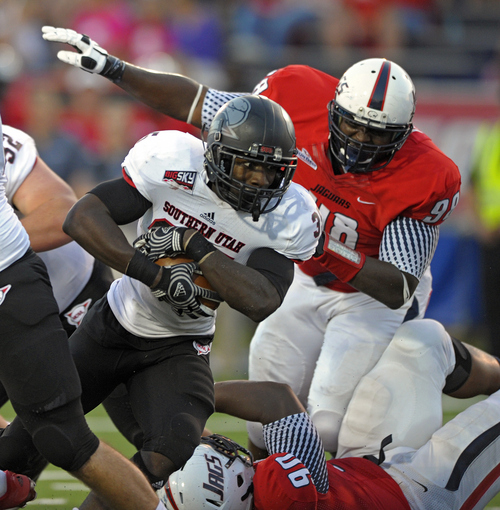 Southern Utah running back Raysean Pringle (35) led Southern Utah in rushing last season. (AP Photo/G.M. Andrews)