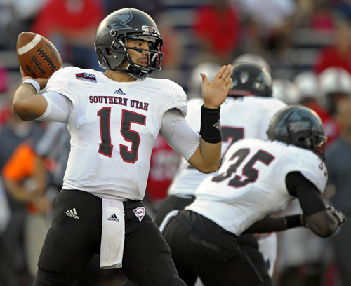 Southern Utah quarterback Aaron Cantu (15) passes against South Alabama in the first quarter of an NCAA college football game Thursday, Aug. 29, 2013 in Mobile, Ala.  (AP Photo/G.M. Andrews)