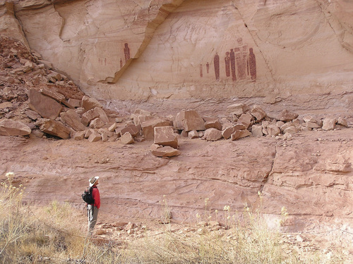 (Joel Pederson | Utah State University)  Using luminescence dating techniques, a USU research team led by geologist Joel Pederson, have determined the pictographs at the Great Gallery in Canyonlands National Park's Horseshoe Canyon are far younger, perhaps 1,000 to 2,000 years old, than previously believed.