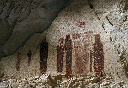 Al Hartmann  |  The Salt Lake Tribune  Using luminescence dating techniques, USU researchers have determined the pictographs at the Great Gallery in Canyonlands National Park's Horseshoe Canyon are far younger, perhaps 1,000 to 2,000 years old, than previously believed.