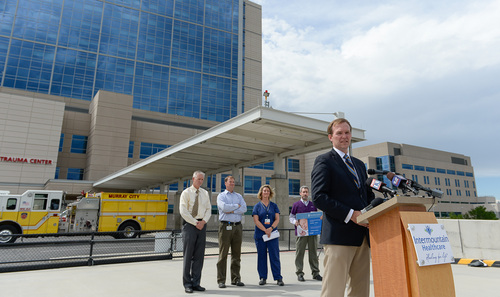 Francisco Kjolseth  |  The Salt Lake Tribune Salt Lake County Mayor Ben McAdams, right, joins other state and hospital officials for a news conference at IMC-Murray hospital on Tuesday, Aug. 26, to answer questions regarding the incident in Kearns of a newborn being left in a trash can by the mother. Officials discussed resources and options available that could help avoid a repeat incident in the future.