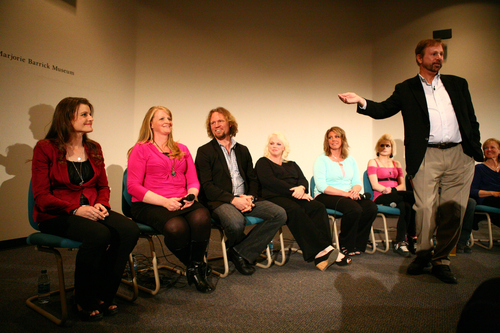 "Paulina Zeng | The Rebel Yell  A poll shows Utah voters are OK with the Utah Data Center but not polygamy and want Kody Brown, third from left, of reality show ""Sister Wives,"" to lose his lawsuit. In this file photo, Brown is introduced to the audience during a panel on polygamy presented by the Department of Anthropology at the Marjorie Barrick Museum Auditorium on the campus of the University of Nevada, Las Vegas on Thursday, April 25, 2013. (Paulina Zeng/The Rebel Yell)"