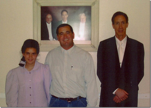 "| Courtesy of Sam Brower, author of ""Prophet's Prey.""  Teresa Steed, Nathan C. Jessop, and FLDS President Warren Jeffs pose in this undated photo seized as evidence by Texas law enforcement."