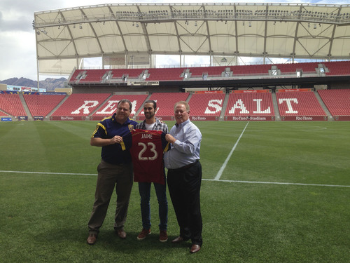 Christopher Kamrani  |  The Salt Lake Tribune   Real Salt Lake General Manager Garth Lagerwey, left,  and owner Dell Loy Hansen introduce RSL's new designated player Sebastian Jaime, center, at Rio Tinto Stadium on Friday August 22, 2014.