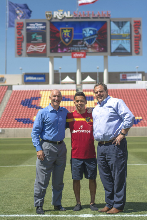 Courtesy  |  Real Salt Lake  Sebastian Saucedo, pictured here with RSL president Bill Manning (left) and general manager Garth Lagerwey (right) signed with the club on July 24, signaling the first-ever Utah product to be signed by RSL. The 17-year-old Park City resident has spent the last two years at the club's Arizona-based Academy in Casa Grande, Ariz.