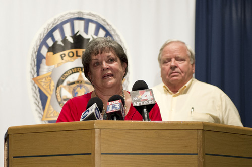 Lennie Mahler  |  The Salt Lake Tribune Shirley England and Jerold Johnson speak at a press conference after Unified Police solved the 1991 cold-case murder of their mother, Lucille Johnson. Thursday, Aug. 28, 2014.