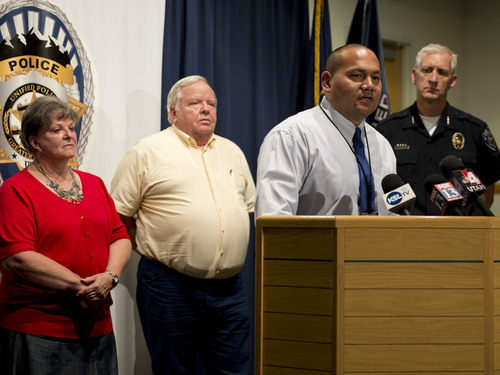 Lennie Mahler  |  The Salt Lake Tribune Detective Mike Ikemiyashiro speaks to the press as Shirley England and Jerold Johnson, siblings, and Salt Lake County Sheriff Jim Winder listen. Unified police believe they solved the 1991 cold-case murder of Lucille Johnson. Thursday, Aug. 28, 2014.