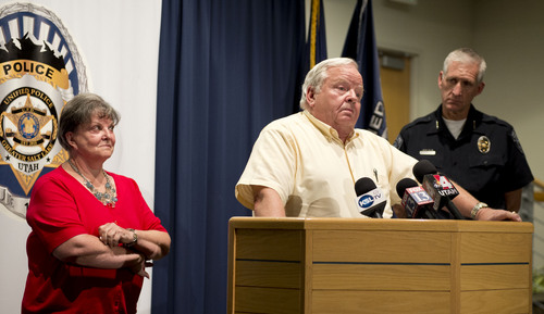 Lennie Mahler  |  The Salt Lake Tribune Jerold Johnson and Shirley England speak at a press conference after Unified Police solved the 1991 cold-case murder of their mother, Lucille Johnson. Thursday, Aug. 28, 2014.