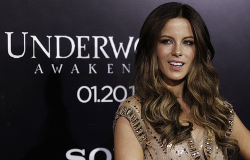 "Cast member Kate Beckinsale arrives at the premiere of ""Underworld Awakening"" in Los Angeles, Thursday, Jan. 19, 2012. ""Underworld Awakening"" will be released in theaters Jan. 20, 2012. (AP Photo/Matt Sayles)"