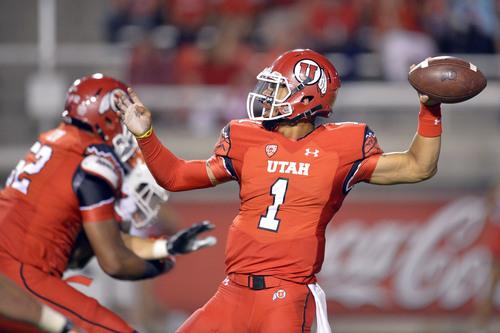Chris Detrick     The Salt Lake Tribune Utah Utes quarterback Kendal Thompson (1) throws the ball during the second half of the game at Rice-Eccles stadium Thursday August 28, 2014. Utah defeated Idaho State 56-14.