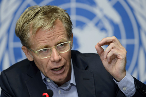 Bruce Aylward, WHO Assistant Director-General, speaks to the media during a press conference about the WHO briefing on the Ebola roadmap. It outlines all actions that need to be taken by affected countries and partners to bring an end to the largest and most complex recorded Ebola outbreak in history, at the European headquarters of the United Nations in Geneva, Switzerland, Thursday, August 28, 2014. (AP Photo/Keystone/Martial Trezzini)
