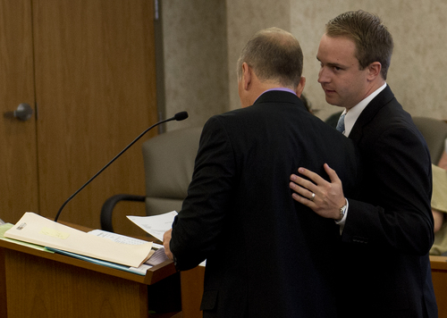 Jeremy Harmon  |  The Salt Lake Tribune  Nathan Fletcher stands with his attorney John Allan as he makes his initial court appearance in Provo on Thursday, June 5, 2014. Fletcher is alleged to have sexually assaulted multiple women at BYU.