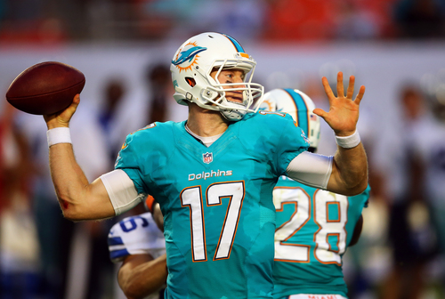 Miami Dolphins quarterback Ryan Tannehill (17) looks to pass during the first half of an NFL preseason football game against the Dallas Cowboys, Saturday, Aug. 23, 2014, in Miami Gardens, Fla. (AP Photo/J Pat Carter)