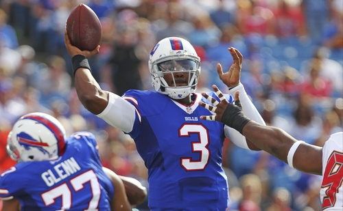 Buffalo Bills quarterback EJ Manuel (3) throws a pass during the first half of a preseason NFL football game against the Tampa Bay Buccaneers, Saturday, Aug. 23, 2014, in Orchard Park, N.Y. (AP Photo/Bill Wippert)