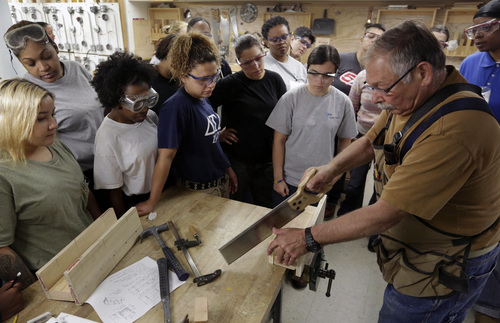 In this Aug. 18, 2014 photo, students watch instructor Howie Rotz during a training session conducted by Nontraditional Employment for Women, to train women for employment in the construction trades, in New York. About 7.1 million Americans were employed in construction-related occupations in 2013, and only 2.6 percent were women. In firefighting, women comprise a higher share of the workforce, at 3.5 percent. (AP Photo/Richard Drew)