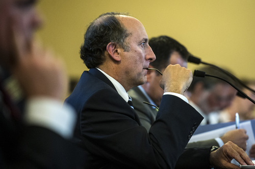 Chris Detrick     The Salt Lake Tribune UTA General Manager Mike Allegra speaks during a Audit Subcommittee of the Legislative Management Committee Tuesday August 26, 2014.