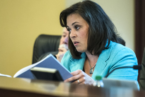 Chris Detrick     The Salt Lake Tribune Speaker Becky D. Lockhart, Co-Chair, talks to UTA General Manager Mike Allegra during a Audit Subcommittee of the Legislative Management Committee Tuesday August 26, 2014.