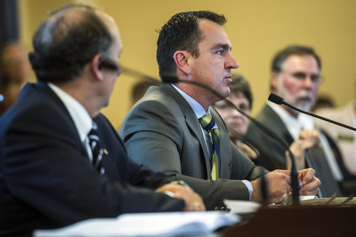 Chris Detrick     The Salt Lake Tribune UTA Board Chair Greg Hughes UTA, right, and General Manager Mike Allegra speak during a Audit Subcommittee of the Legislative Management Committee Tuesday August 26, 2014.