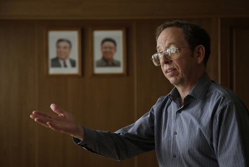 Jeffrey Fowle, an American detained in North Korea, speaks to the Associated Press, Monday, Sept. 1, 2014 in Pyongyang, North Korea. North Korea has given foreign media access to three detained Americans who said they have been able to contact their families and watched by officials as they spoke, called for Washington to send a representative to negotiate for their freedom. (AP Photo/Wong Maye-E)