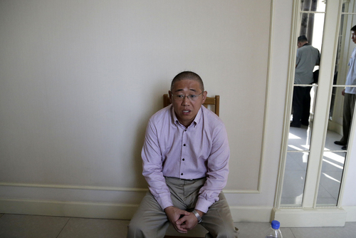Kenneth Bae, an American tour guide and missionary serving a 15-year sentence, detained in North Korea,  speaks to the Associated Press, Monday, Sept. 1, 2014 in Pyongyang, North Korea. North Korea has given foreign media access to three detained Americans who said they have been able to contact their families and watched by officials as they spoke, called for Washington to send a representative to negotiate for their freedom. (AP Photo/Wong Maye-E)