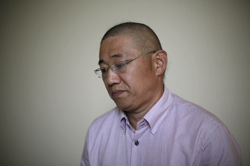 Kenneth Bae, a American tour guide and missionary serving a 15-year sentence, detained in North Korea,  speaks to the Associated Press, Monday, Sept. 1, 2014 in Pyongyang, North Korea. North Korea has given foreign media access to three detained Americans who said they have been able to contact their families and watched by officials as they spoke, called for Washington to send a representative to negotiate for their freedom. (AP Photo/Wong Maye-E)