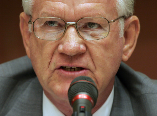 Former   West Valley City Mayor, Dennis Nordfelt, answering questions on a panel discussion at a  Utah Government Transportation Summit in Layton in 2005. Nordfelt died Aug. 30, 2014, at the age of 71.    Ashley Franscell/Salt Lake Tribune