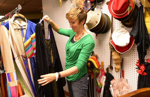 Leah Hogsten  |  The Salt Lake Tribune If you're looking for an outfit for the upcoming Comic Con event, Brooke Wilkins, manager of the Hale Center Theatre Costume Rental store, is ready to assist you. Wilkins shows off some of the many articles of clothing to complete any pirate, mad hatter, steam punk, princess, villain or futuristic outfit, August 21, 2014.