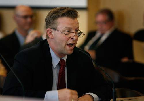 Chris Detrick  |  The Salt Lake Tribune UTA Board Chair Greg Hughes UTA, right, and General Manager Mike Allegra speak during a Audit Subcommittee of the Legislative Management Committee Tuesday August 26, 2014.