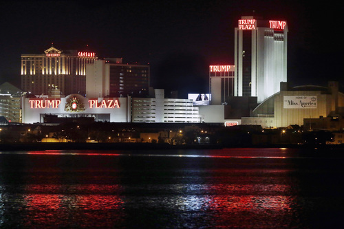 The Trump Plaza Hotel Casino is illuminated at night early Tuesday, Sept. 2, 2014, in Atlantic City, N.J. Trump Plaza received final state approval Tuesday to close on Sept. 16, 2014. Atlantic City, which started the year with 12 casinos, will have eight by mid-September. Revel, which closed Tuesday, was the second Atlantic City casino to shut down over Labor Day weekend, joining the Showboat, which closed its doors Sunday. The Atlantic Club closed in January. (AP Photo/Mel Evans)